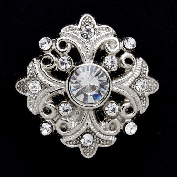 #0037 Diamonte encrusted shank button 24mm