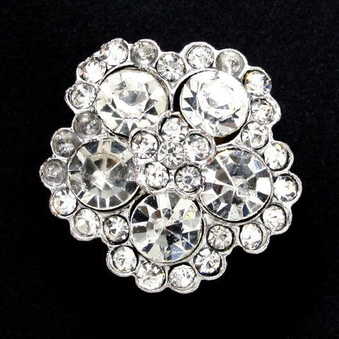 #0043 Flower diamonte shank button 16mm
