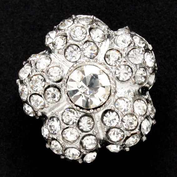 #0046 Diamonte flower shank button 16mm