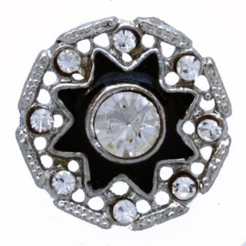 #0048 Diamonte with black star centre button 22mm