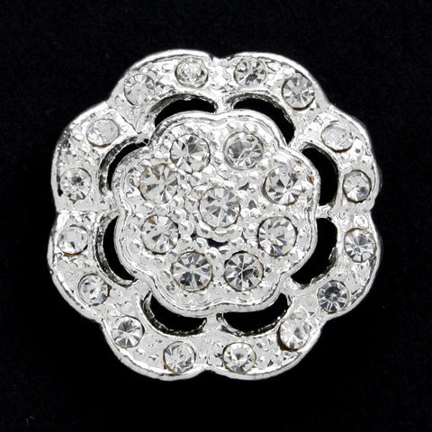 #0053 Diamonte encrusted flower shank 24mm