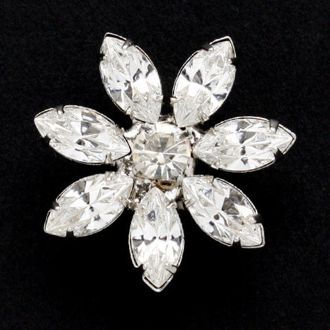 #0054 Diamonte flower shank button 20mm