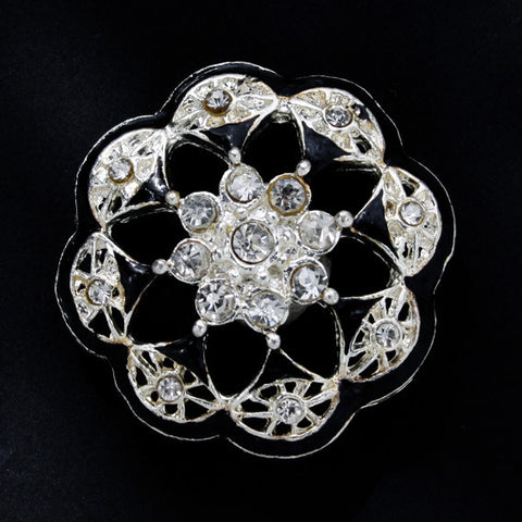 #0055 Diamonte Flower shank button 32mm