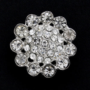 #0060 Diamonte encrusted metal shank button 25mm