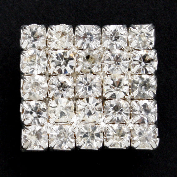 Square diamonte shank button 18mm