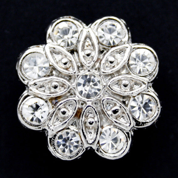 #0066 Diamonte flower shank button 22mm