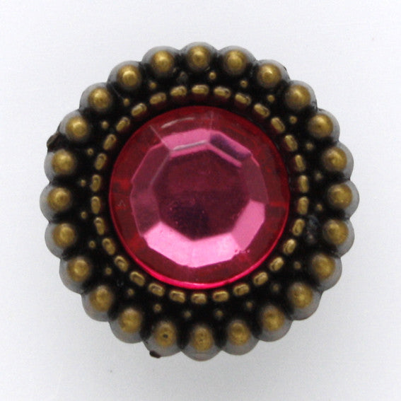 #0089 Round rose facet shank button 17mm