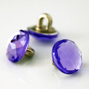 #0103 Glass facet purple shank button 9mm