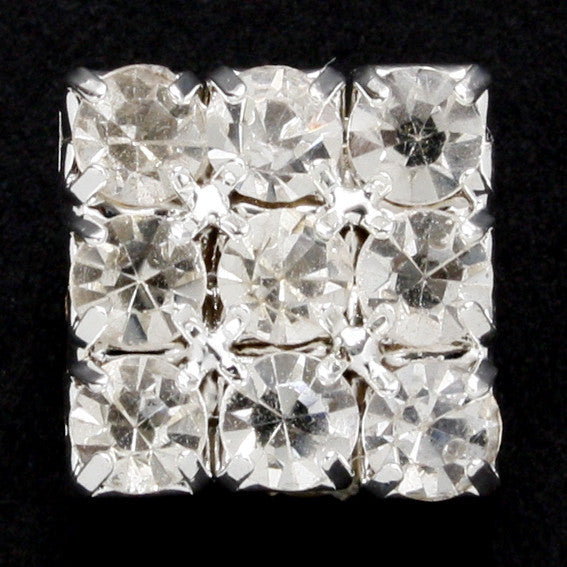 Square diamonte shank button 8mm