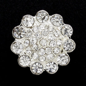 #0128 Flower diamonte shank button 15mm
