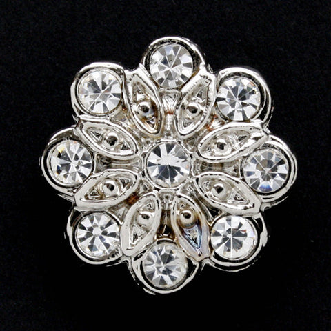#0130 Diamonte flower shank button 21mm