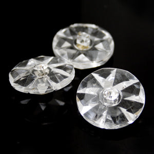 #0136 Round clear diamonte shank button 12mm