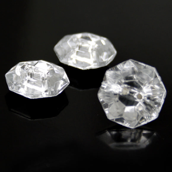 #0139 Octagonal 2 hole clear stone button 13mm
