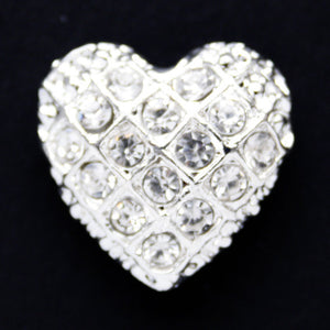 #0155 Heart shape diamonte shank button 22mm