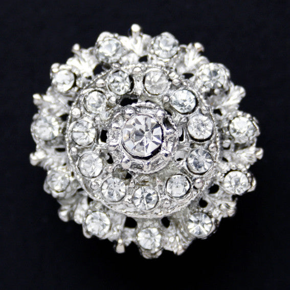 #0157 Flower diamonte shank button 25mm