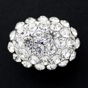 #0159 Oval diamonte encrusted shank button 24mm