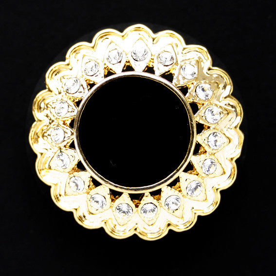 #0165 Round diamonte with black enamel button 30mm
