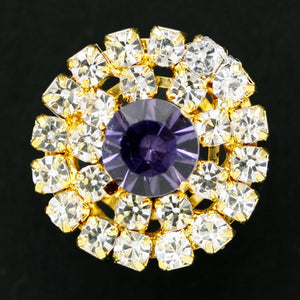 #0168 Round diamonte shank button 20mm