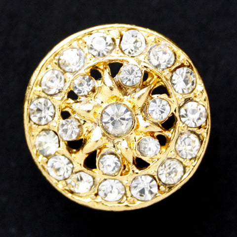 #0170 Round diamonte encrusted shank button 21mm