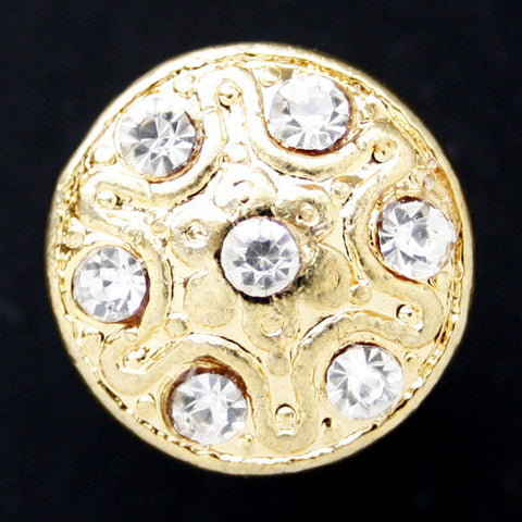#0172 Round diamonte encrusted shank button 15mm