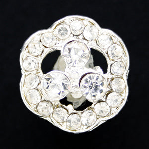 #0177 Diamonte encrusted flower shank button 15mm
