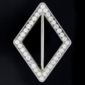 #0212 Diamond shape crystal buckle 50mm
