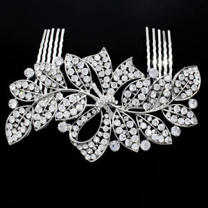 #0220 Crystal Flower comb 120mm