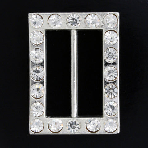 #0221 Rectangle diamonte buckle 25mm