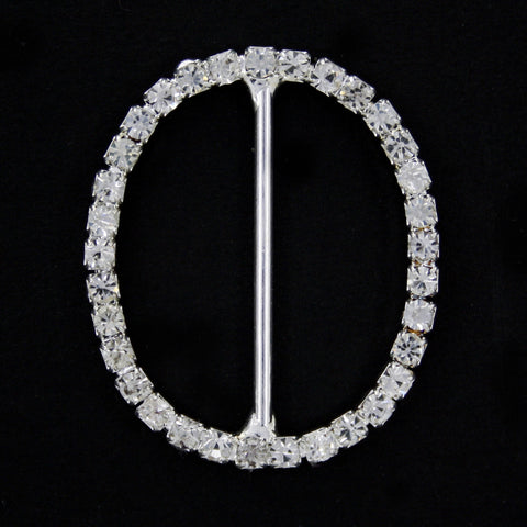 #0223 Oval diamonte buckle 28mm