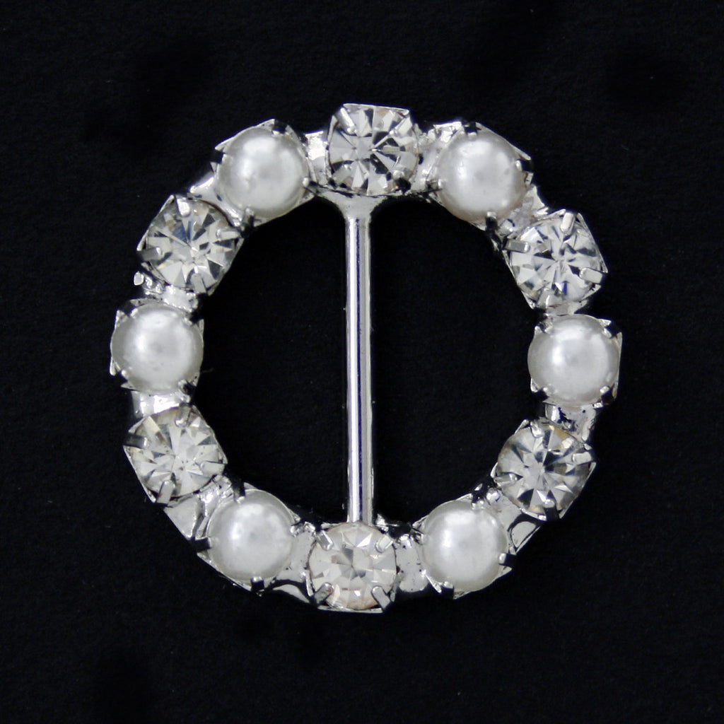 #0227 Round pearl with crystals buckle 10mm