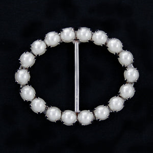 #0228 Oval pearl buckle 18mm
