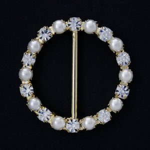 #0229 Round pearl with crystals buckle 25mm