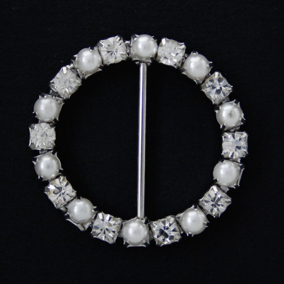 #0230 Round pearl with crystals buckle 24mm