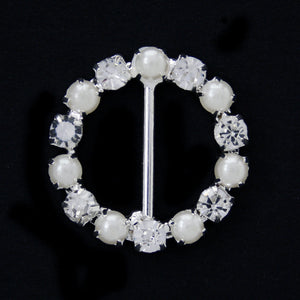 #0233 Round pearl with crystals buckle nickel 15mm
