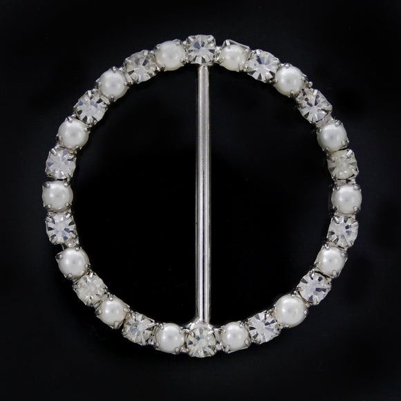 #0237 Round pearl with crystals buckle 34mm