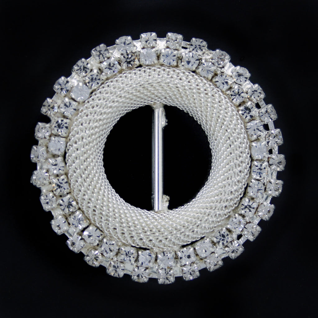 #0240 Round crystal buckle nickel 16mm