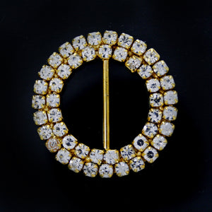 #0241 Double row round crystal buckle 18mm