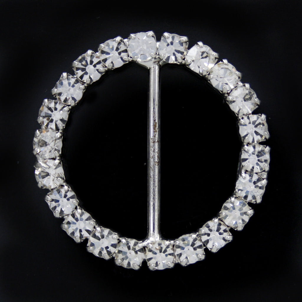 #0242 Round crystal buckle 32mm