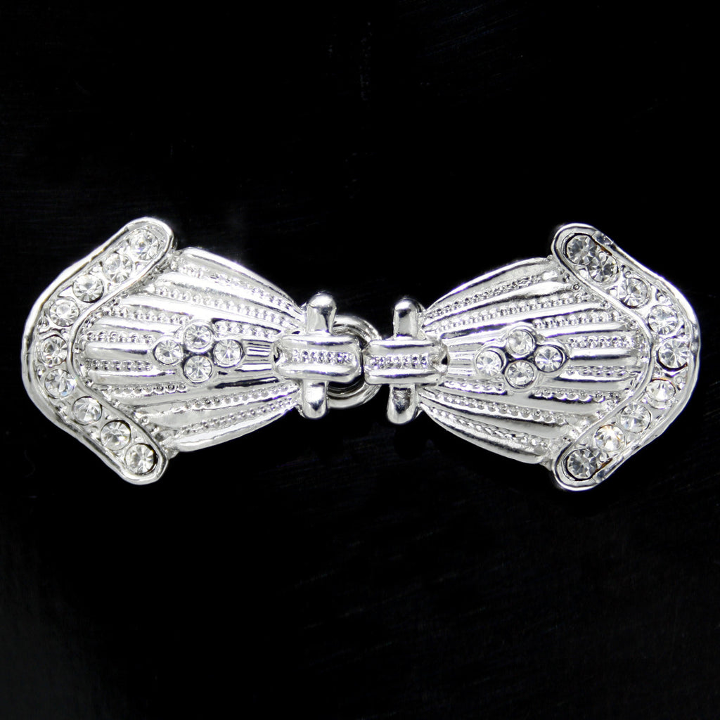 #0260 Decorative crystal clasp nickel(2 pieces) 50mm