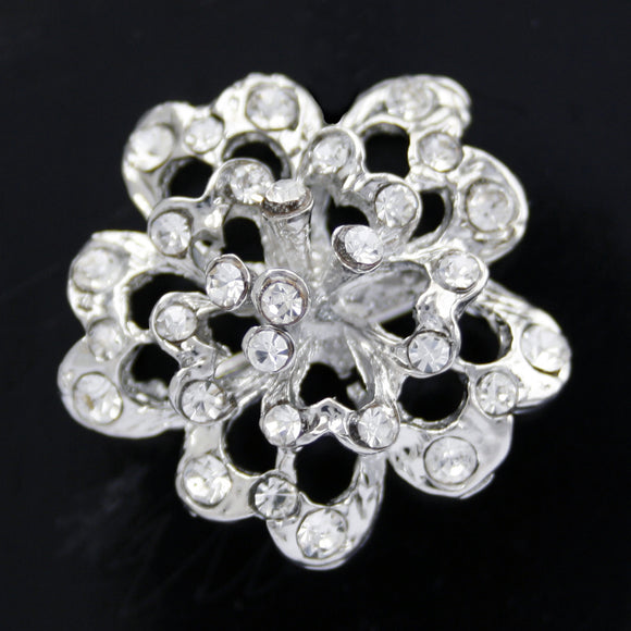 #0265 Diamonte Flower brooch 26mm