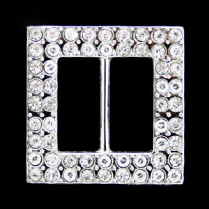 Square double row crystal buckle 18mm