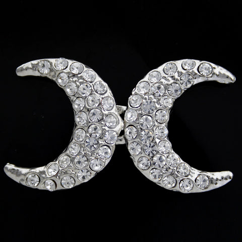 #0458 Moon crest diamonte brooch 50mm