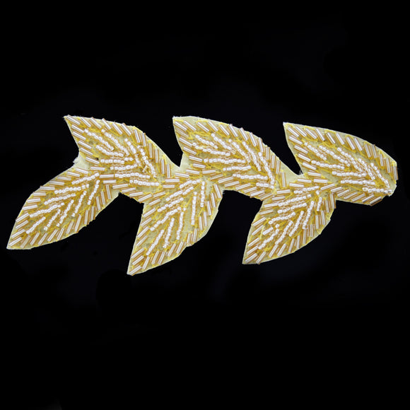 Leaf beaded applique gold