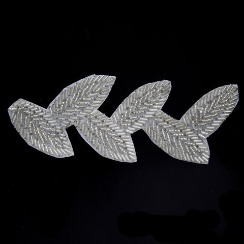 Leaf beaded applique silver 150mm