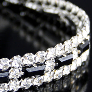 #0545 Crystal and Black Stone Trim 15mm