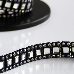 #0560 Black  or White Trim With Clear Crystals 15mm wide