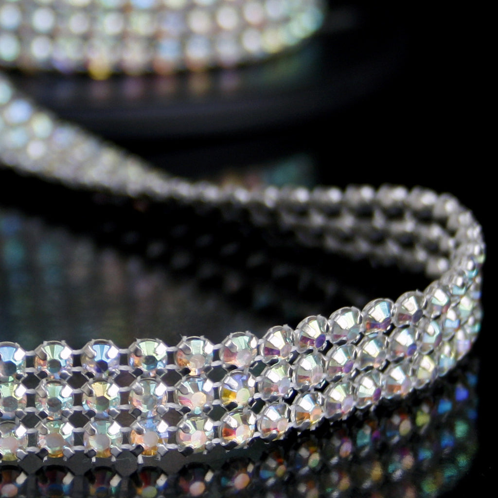 #0613 Tripple Row AB Crystal Trim 15mm