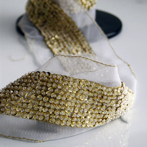 Claudine Bright Gold Ornate Beaded Trim