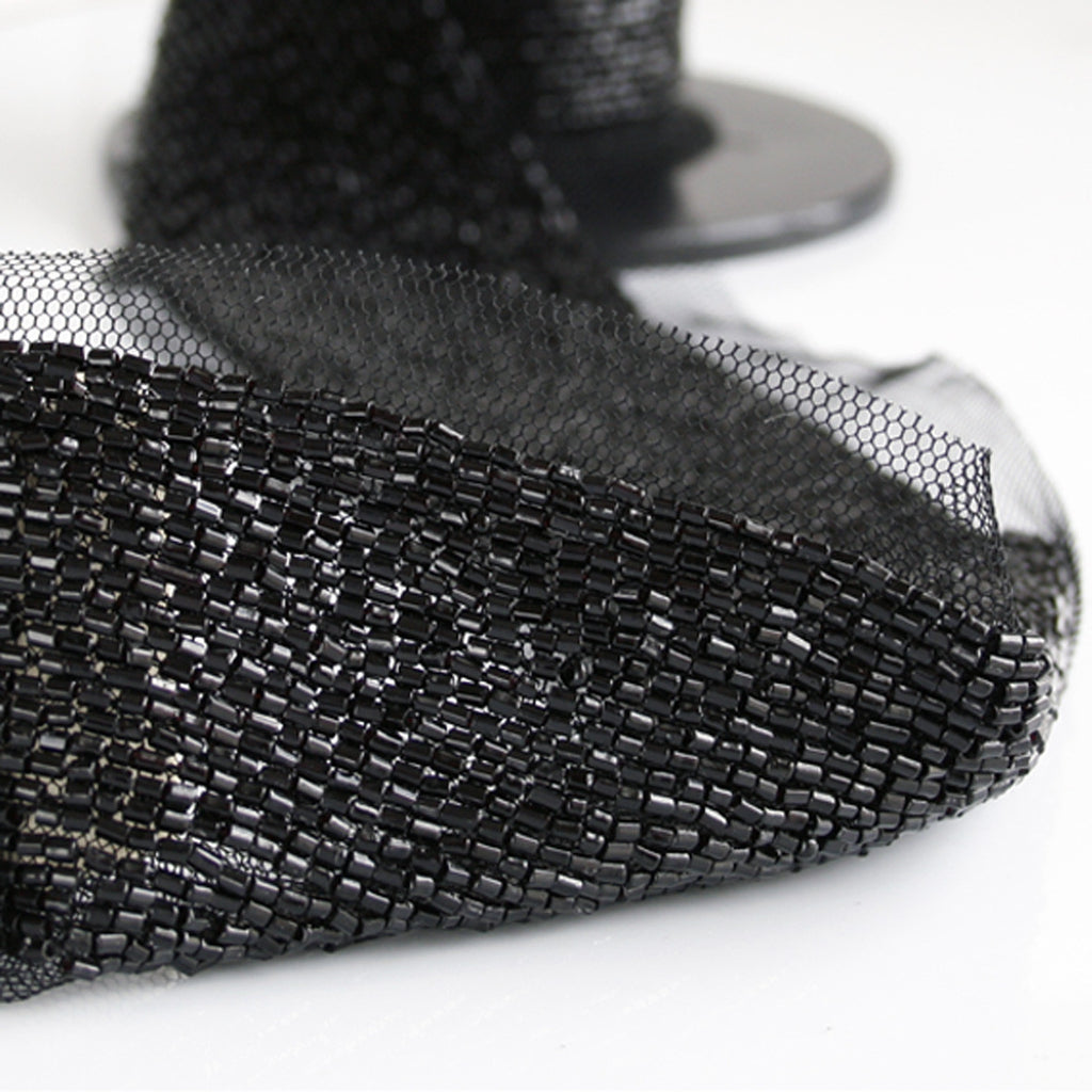 Black Beaded Trim on Netting 23mm