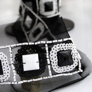 Black and White Beaded Sequin Trim with Stones 35mm